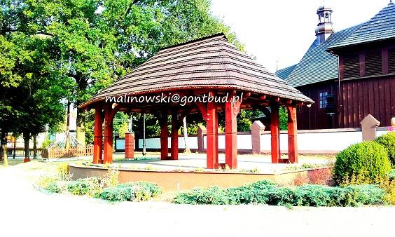Altanka Jeruzal Wilkowyje gonty drewniane scena altanka wiata ranczo.pl garaż gont drewniany garaże