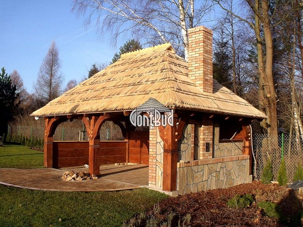 altana drewniana, altanka z gontami drewnianymi, altana z grillem projekt, garaż drewniany
