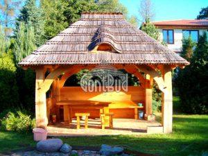 altana ogrodowa wiata drewniana domek ciesielstwo gonty drewniane